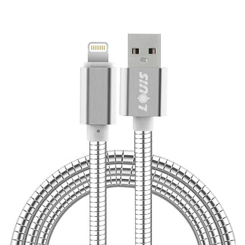 1m Tough Stainless Steel Lightning USB Charging Cable for iPhone / iPad